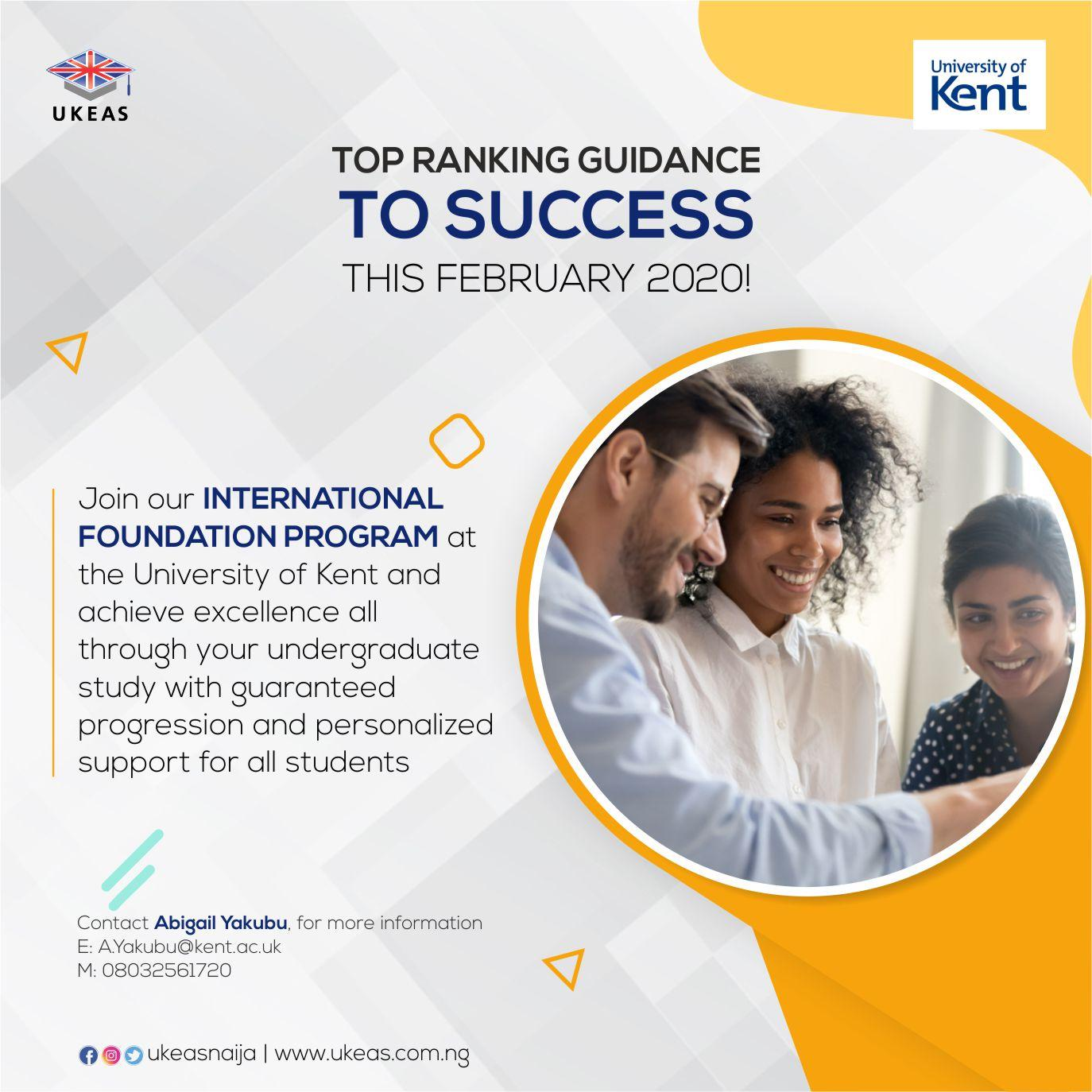 Achieve Excellence with University of Kent by February 2020!